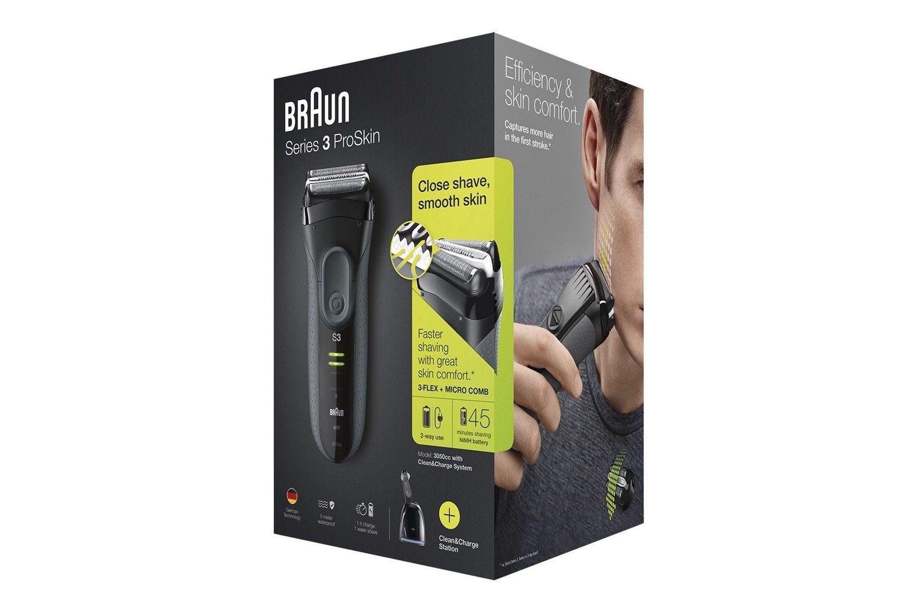 Braun Series 3 ProSkin 3050cc Shaver Grey + Clean Charger Station ... 1582a664c8